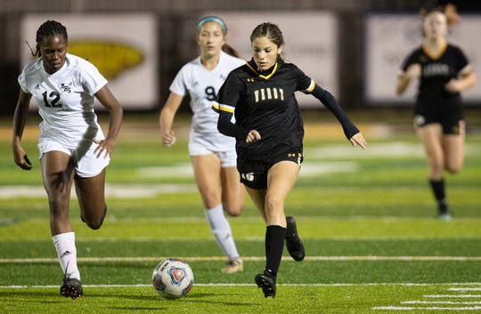 Bishop Verot High School's Kendal Gargiula looks to score against Mariner on Wednesday at Bishop Verot in Fort Myers. Verot and Mariner tied 1-1.