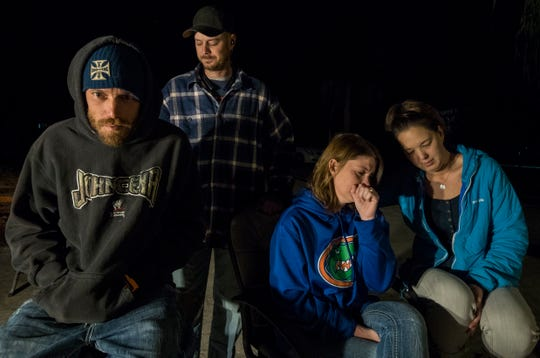 Family members of Alana Marie Tamplin, who was killed Monday, Jan. 14, 2019, when a car ran into her while walking home, gathered Wednesday evening at their home in North Fort Myers. From left: her father, Daryl Tamplin; uncle Gene Tamplin; mother, Sarah Tamplin; and Tina Lander, Alana's godmother.