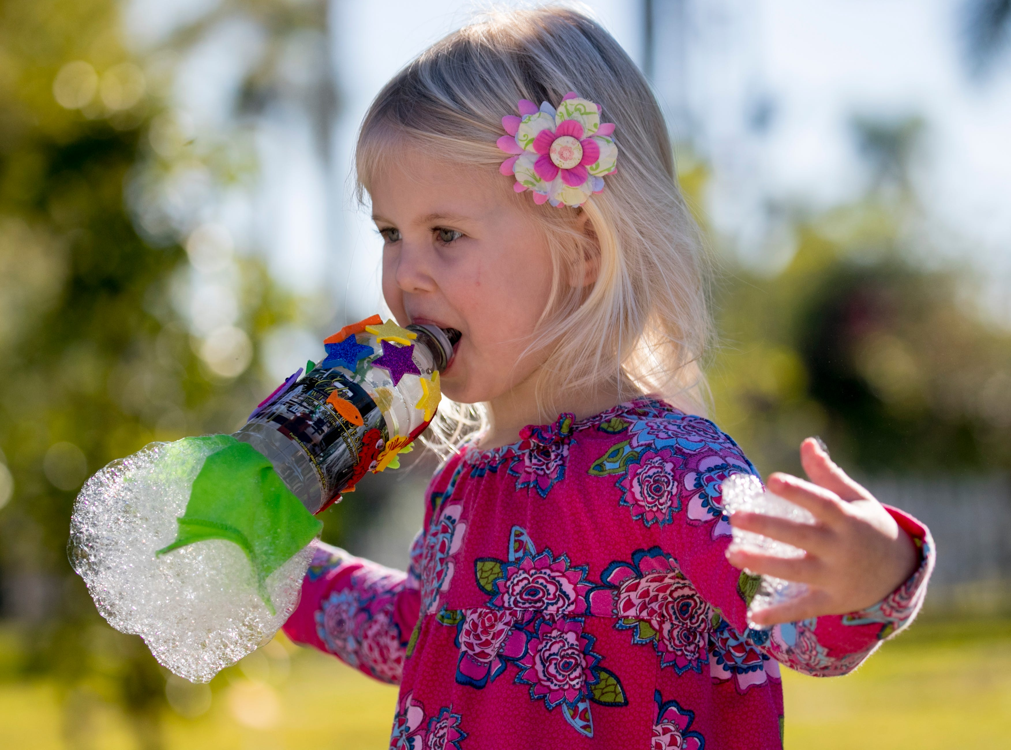 Stella Curry, 3, blows snake bubbles during the monthly Emerging Inventors program on Thursday, January 17, 2019, at the Edison & Ford Winter Estates in Fort Myers. This month's program was called Bouncing Bubbles. The next program, which is for children 5 and younger, is February 21 at 9:30 am, and is called is LEGO Art and Engineering.