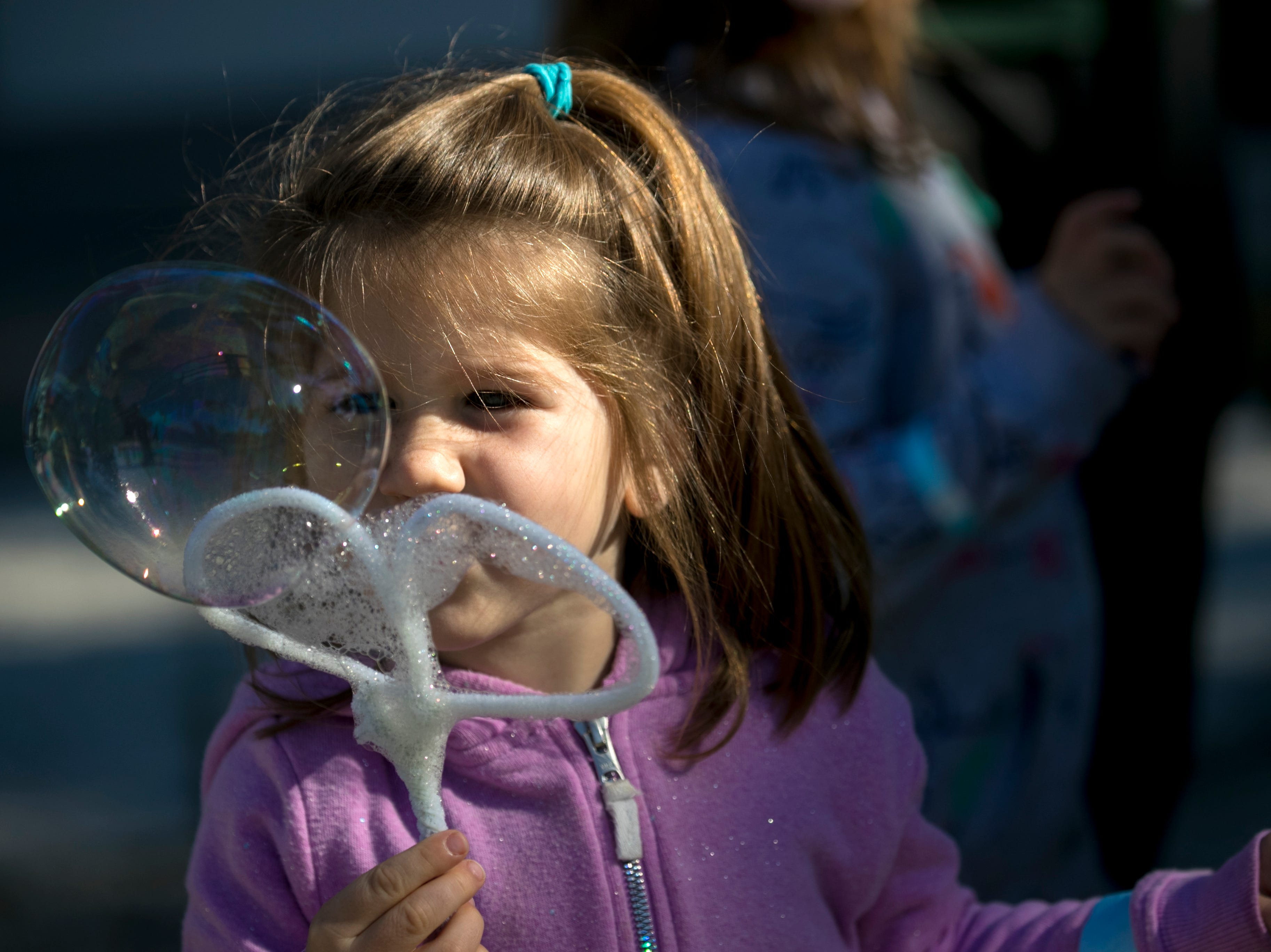Avery Berry, 3, blows a bubble with the bubble wand she made during the monthly Emerging Inventors program on Thursday, January 17, 2019, at the Edison & Ford Winter Estates in Fort Myers. This month's program was called Bouncing Bubbles. The next program, which is for children 5 and younger, is February 21 at 9:30 am, and is called is LEGO Art and Engineering.