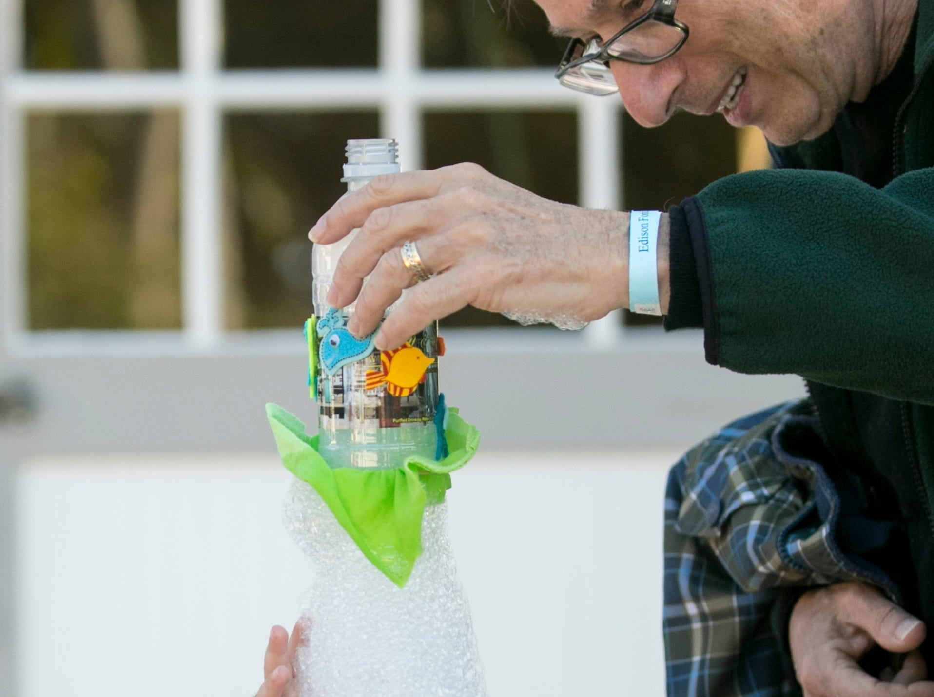 Goergie Auster-Klein, 3, reacts to a snake bubble made by his grandpa Douglas Auster during the monthly Emerging Inventors program on Thursday, January 17, 2019, at the Edison & Ford Winter Estates in Fort Myers. This month's program was called Bouncing Bubbles. The next program, which is for children 5 and younger, is February 21 at 9:30 am, and is called is LEGO Art and Engineering.