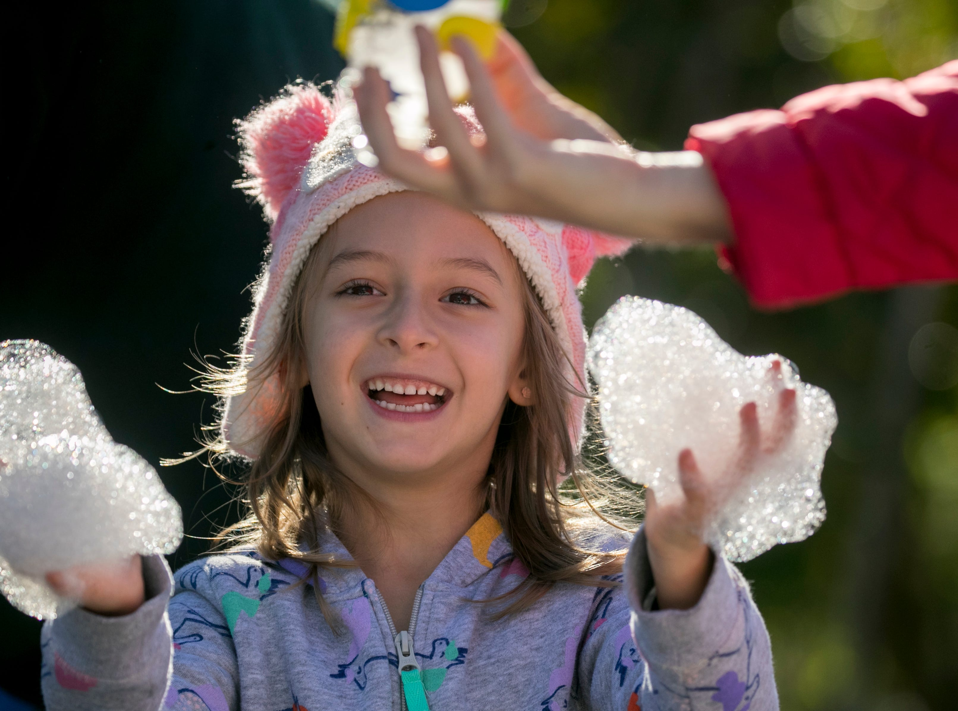 Aviana Panayotti plays with snake bubbles during the monthly Emerging Inventors program on Thursday, January 17, 2019, at the Edison & Ford Winter Estates in Fort Myers. This month's program was called Bouncing Bubbles. The next program, which is for children 5 and younger, is February 21 at 9:30 am, and is called is LEGO Art and Engineering.