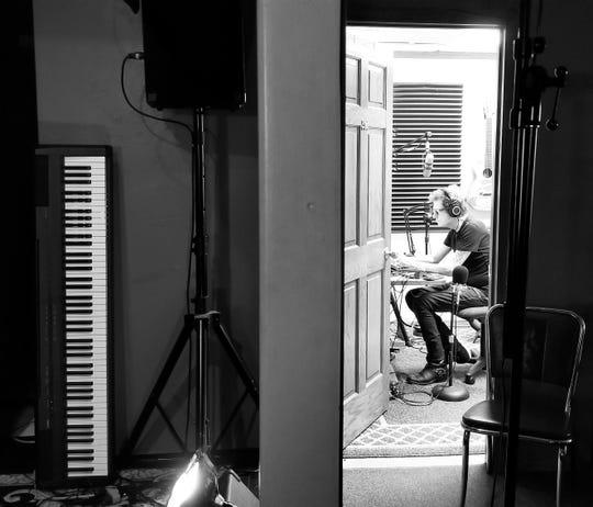 "pat mAcdonald works in his ""Boom Clozet"" at the Holiday Music Motel on his new album, ""The Ragged Jagged Way Back Home."" The album will be released for download Jan. 23."