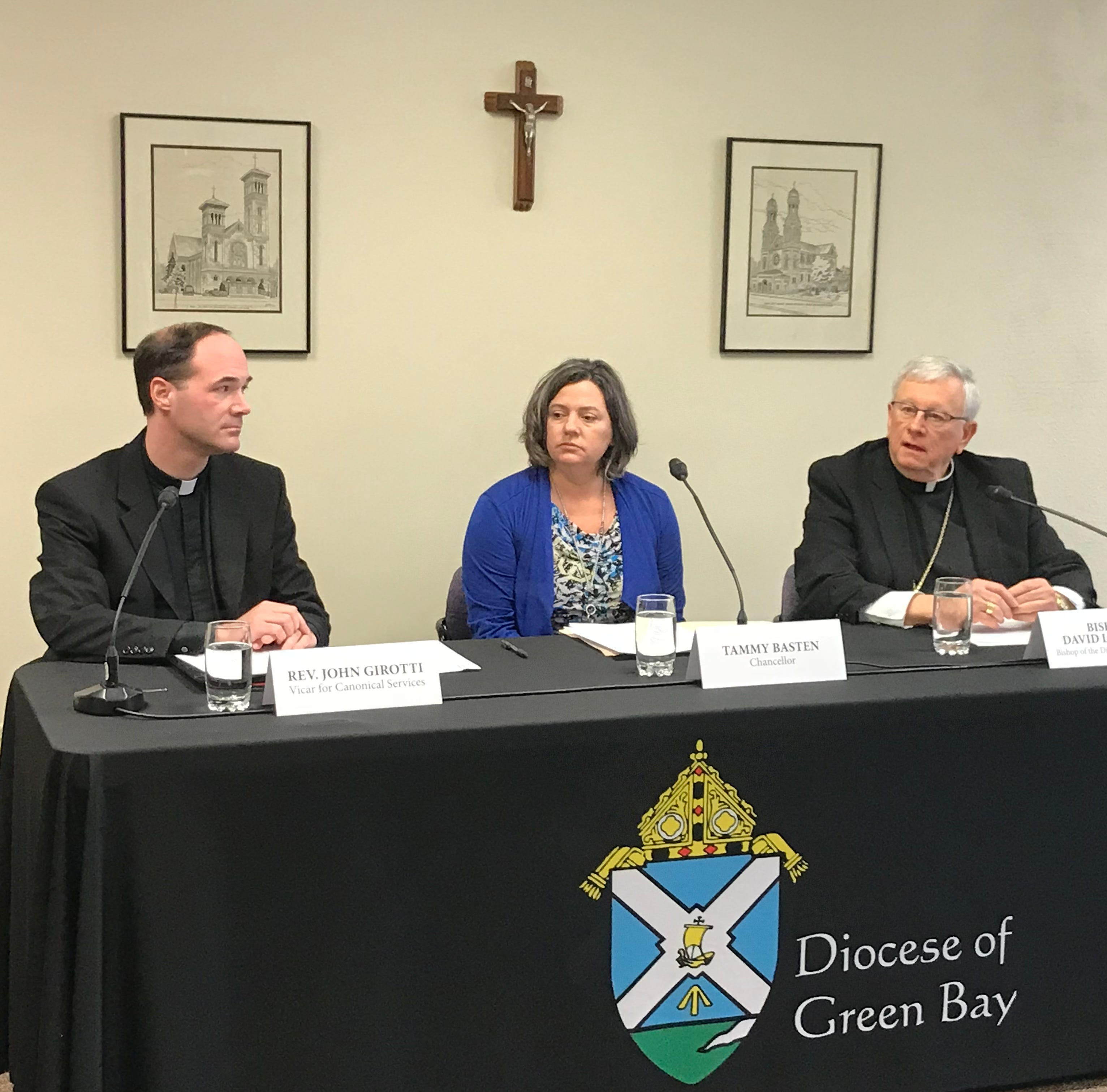 Name of bishop who mishandled clergy abuse removed from Green Bay cathedral building