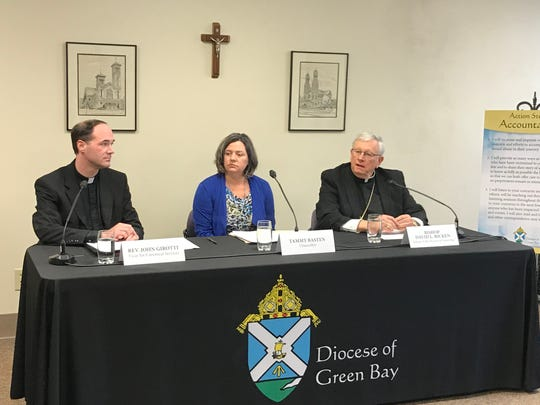 Green Bay Bishop David Ricken, Diocesan Chancellor Tammy Basten, and Rev. John Girotti, vicar for canonical services, discuss the diocese's release of the names of clergy with substantiated allegations of sexual abuse of minors.