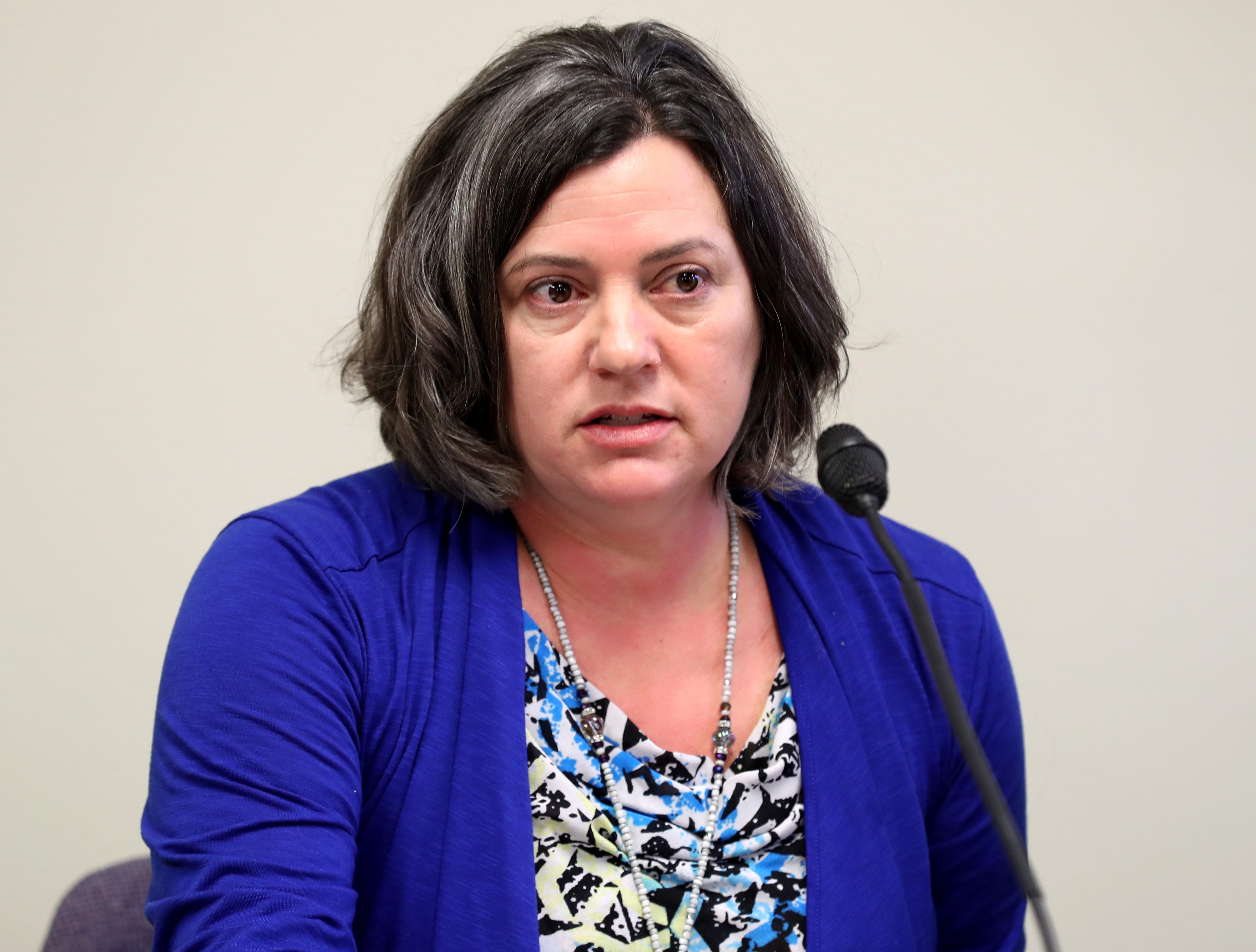 Catholic Diocese of Green Bay Chancellor Tammy Basten discusses discusses the release of the names on Thursday of 46 priests confirmed to hve abused minors at the Diocese of Green Bay offices in Allouez.