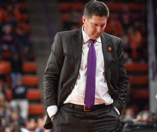 Clemson head coach Brad Brownell during the second half of the Georgia Tech game at Littlejohn Coliseum in Clemson Wednesday, January 16, 2019.