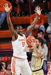 Clemson center Trey Jemison (55) defends Georgia Tech guard Jose Alvarado (10) during the second half at Littlejohn Coliseum in Clemson Wednesday, January 16, 2019.