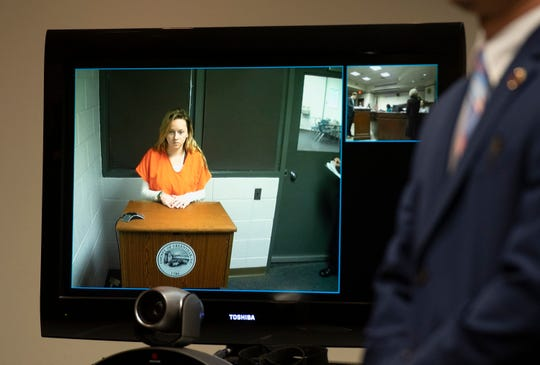 Madison Bagwell video conferenced for her bond hearing at the Greenville County Courthouse on Thursday. Jan. 17, 2019.