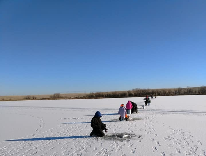 Great Falls Hooked on Fishing not Drugs went Ice fishing on Friday Dec 28th. What a nice day to be on the ice, weather was great, kids caught fish and we had a great meal.  We had students from North, East , CMR ,GFHS and Ulm public schools.
