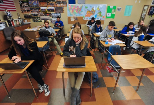 Great Falls Central Catholic High School students study for finals on Thursday morning.