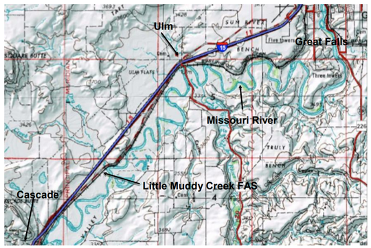 Little Muddy Creek Fishing Access Site is located at the confluence of Little Muddy Creek and the Missouri River along Old. U.S. Highway 91 between Ulm and Cascade.