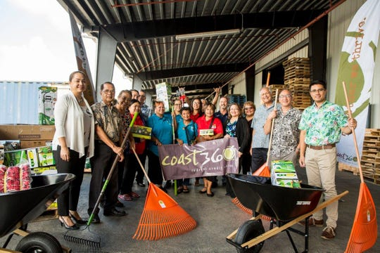 Coast360 officers and board members, in collaboration with Håya Foundation, donate items such as wheelbarrows, headlamps and gardening supplies to support recovery efforts in the CNMI after Super Typhoon Yutu.