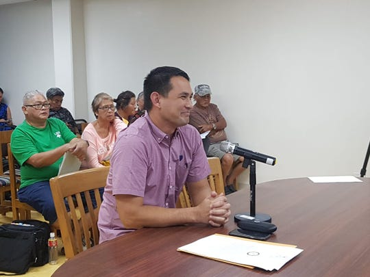 Nominee for the Chamorro Land Trust Commission's Administrative Director Jack Hattig III speaks to the commission during a meeting on Jan. 17, 2019.