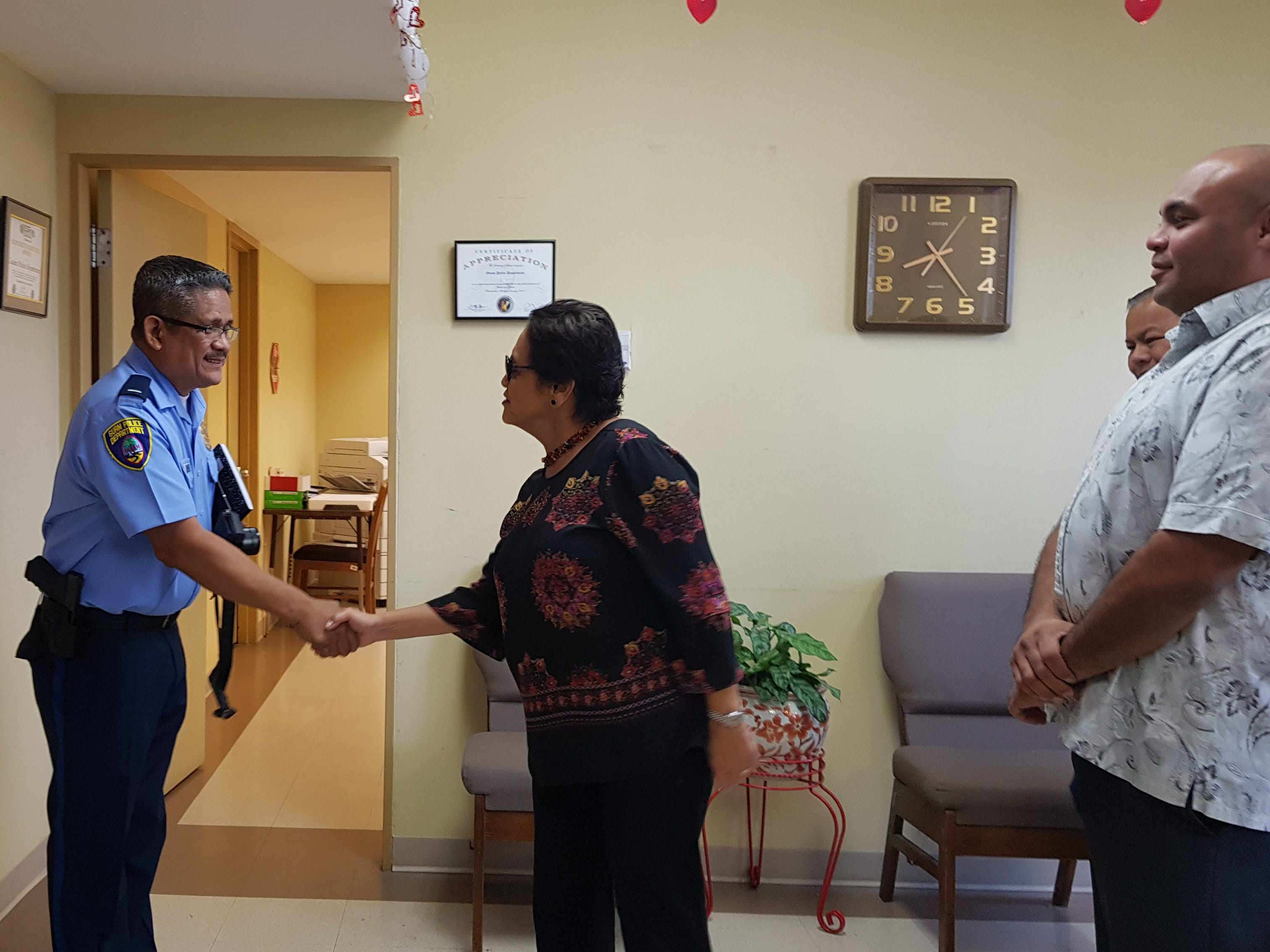 Gov. Lou Leon Guerrero and Lt. Gov. Josh Tenorio visited the Guam Police Department headquarters in Tiyan on Jan. 17, 2019.