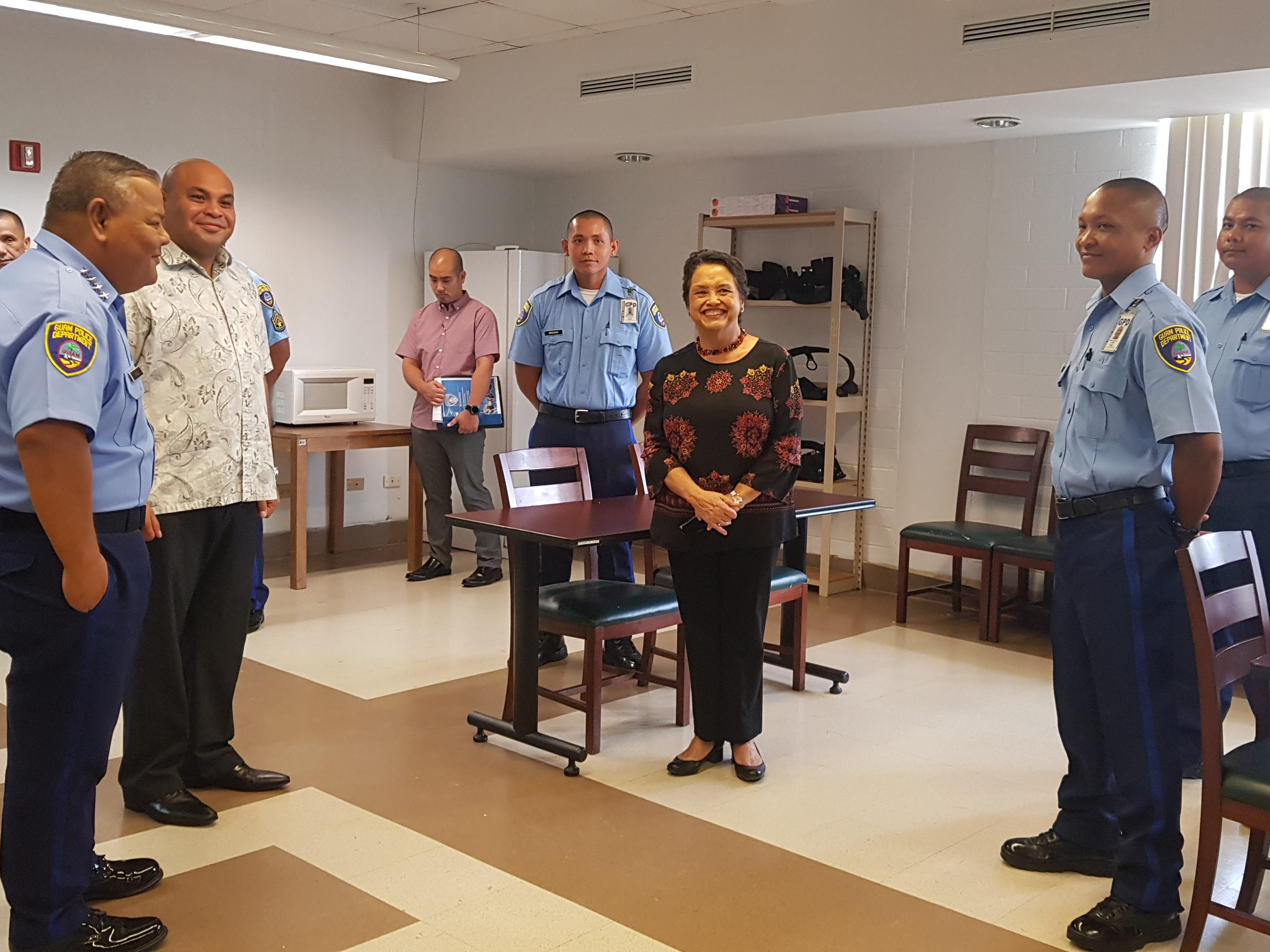 Gov. Lou Leon Guerrero and Lt. Gov. Josh Tenorio greet Guam Police Department recruits during a visit to the GPD headquarters in Tiyan on Jan. 17, 2019.