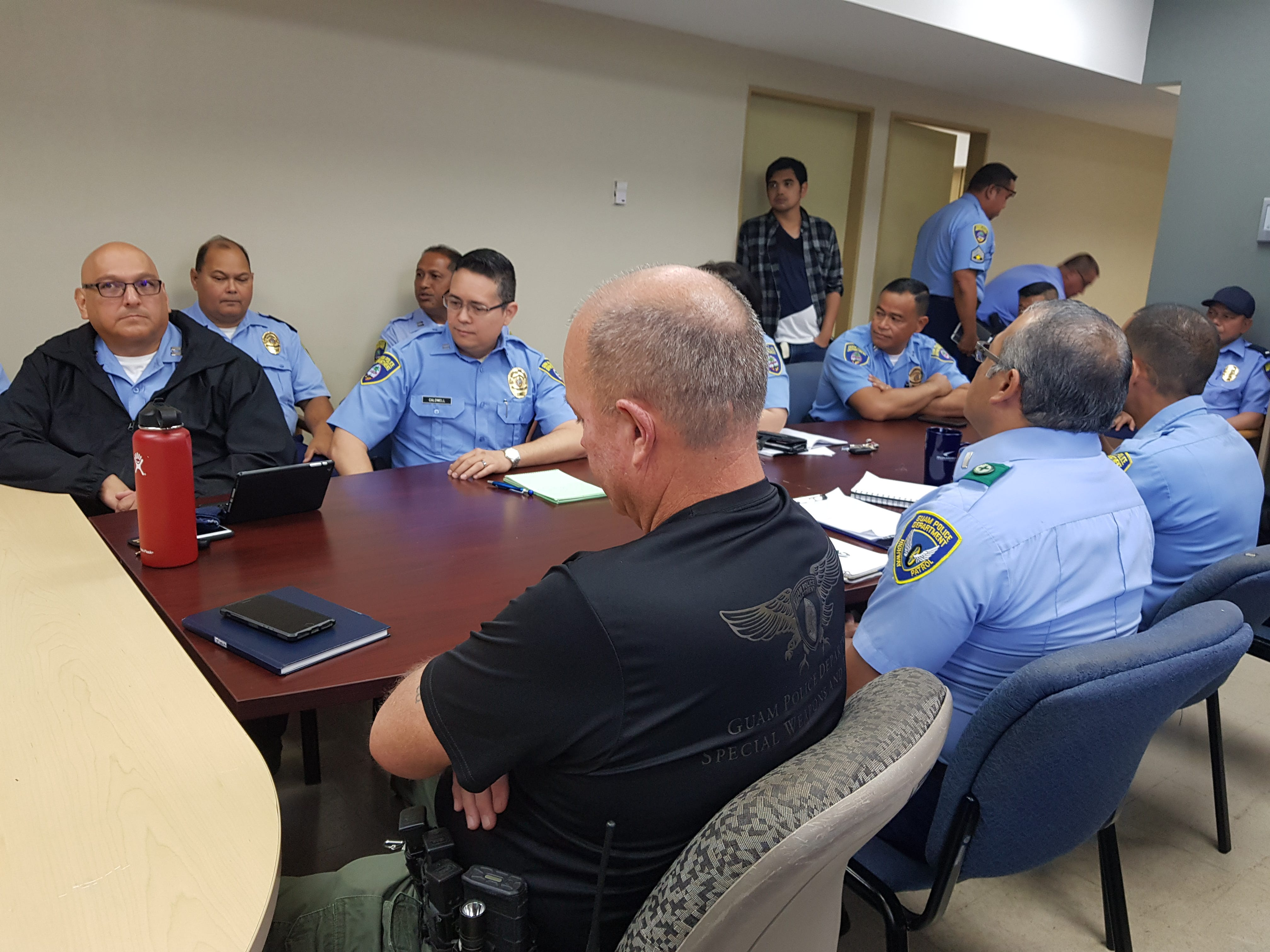 Guam Police Department leadership meet with Gov. Lou Leon Guerrero and Lt. Gov. Josh Tenorio during a visit of the GPD headquarters in Tiyan on Jan. 17, 2019.