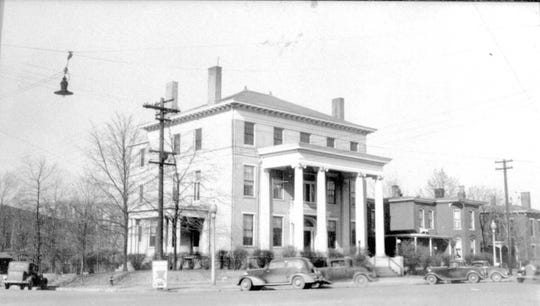 The old Elks Lodge at the northwest corner of Third and Main streets was built between 1828 and 1859 by George M. Atkinson, the first exalted ruler of the lodge. A third floor was added in 1909. In 1919 the Elks were discussing such things as adding a swimming pool and a dance floor. The building was razed in 1974. (Photo courtesy Kathi Ranes)