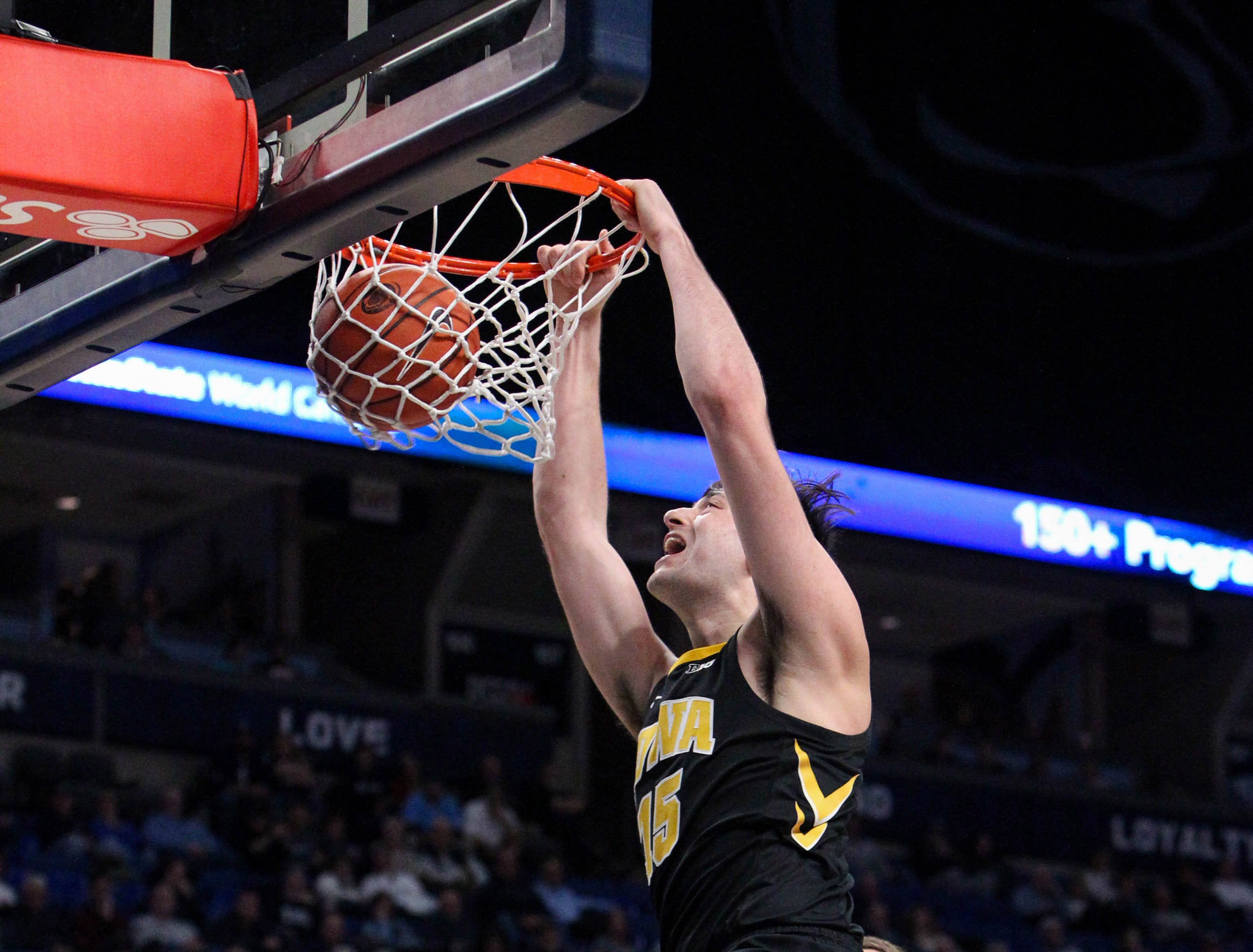 Jan 16, 2019; University Park, PA, USA; Iowa Hawkeyes forward Ryan Kriener (15) dunks the ball during the second half against the Penn State Nittany Lions at Bryce Jordan Center. Mandatory Credit: Matthew O'Haren-USA TODAY Sports