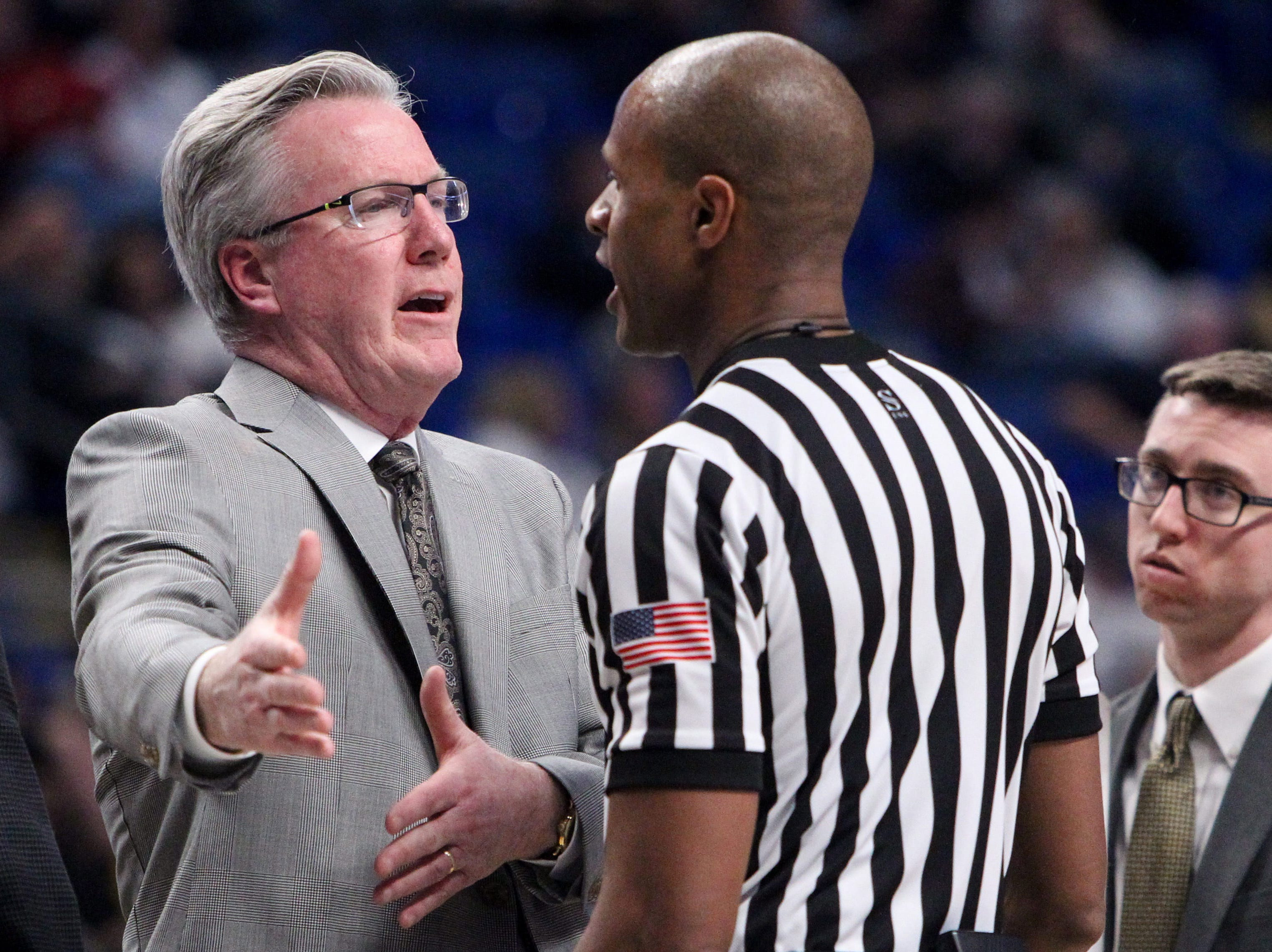 Jan 16, 2019; University Park, PA, USA; Iowa Hawkeyes head coach Fran McCaffery argues a call during the second half against the Penn State Nittany Lions at Bryce Jordan Center. Mandatory Credit: Matthew O'Haren-USA TODAY Sports