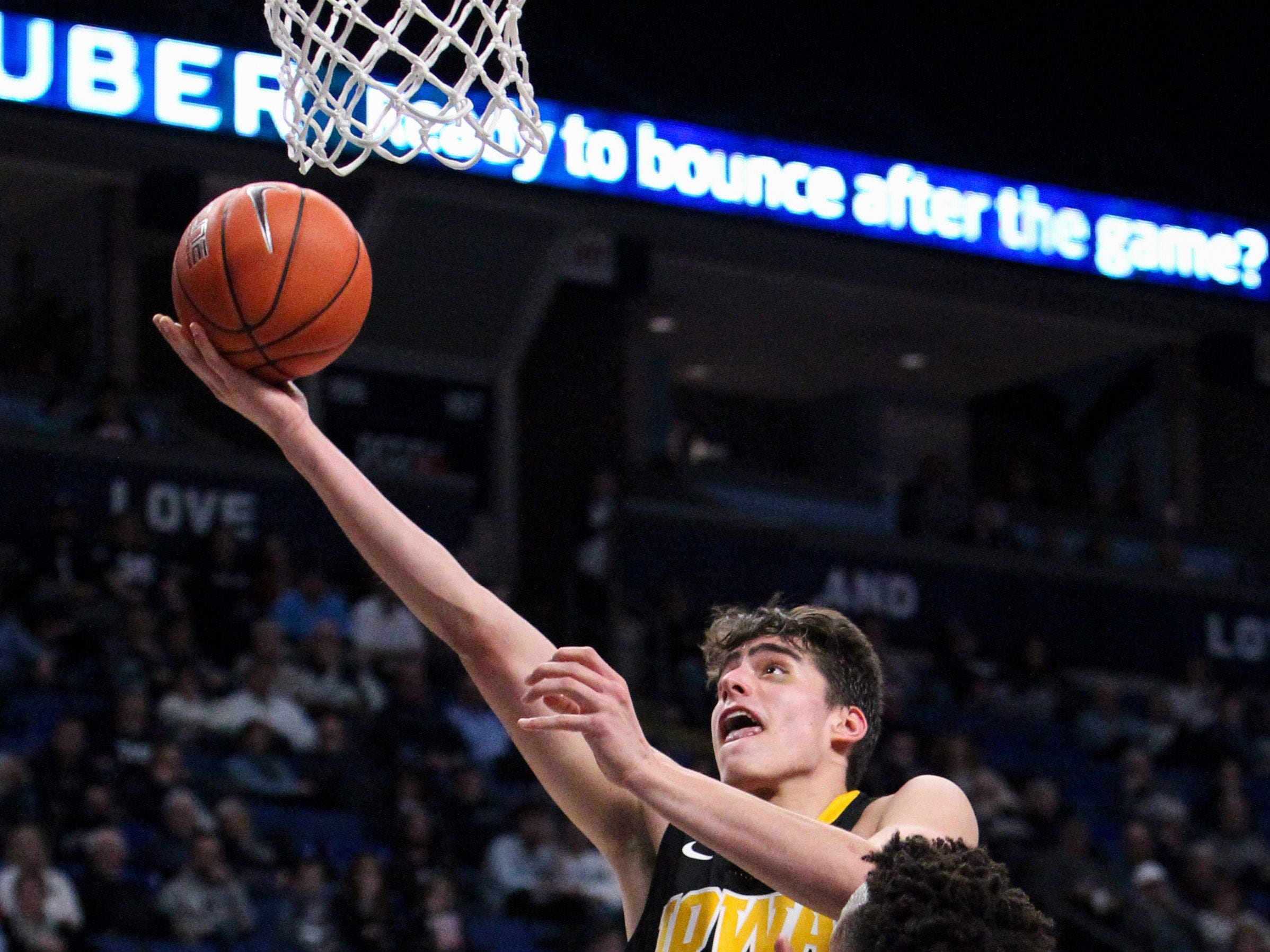 Jan 16, 2019; University Park, PA, USA; Iowa Hawkeyes forward Luka Garza (55) shoots the ball as Penn State Nittany Lions forward Lamar Stevens (11) defends during the second half at Bryce Jordan Center. Mandatory Credit: Matthew O'Haren-USA TODAY Sports