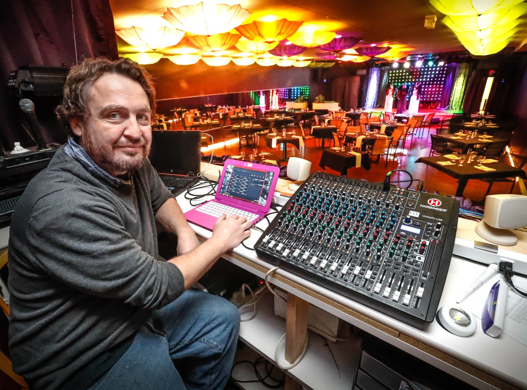 Director of Technical Services, Chris Plunkett sits at the helm in the sound and lighting booth at Stage To Screen's Catered Cabaret Theatre, 350 S. Madison Ave., Greenwood Ind. on Thursday, Jan. 17, 2019. The theatre was originally named Stage To Screen Studios, but has since evolved.