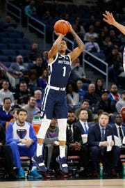 Jordan Tucker #1 of the Butler Bulldogs shoots the ball in the game against the DePaul Blue Demons during the first half at Wintrust Arena on January 16, 2019 in Chicago, Illinois.