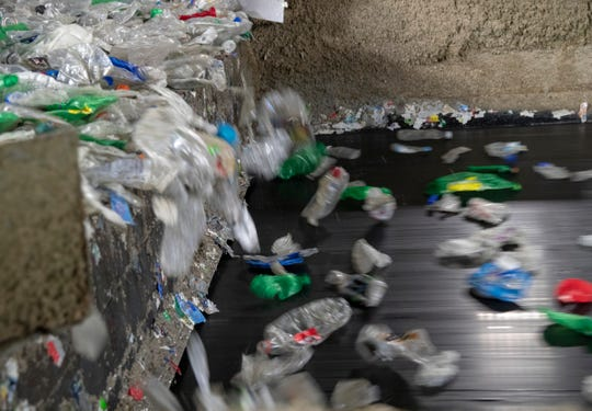 The production line at Perpetual Recycling Solutions, Richmond, Wednesday, Nov. 7, 2018. The facility recycles PET plastic, the kind commonly found in clear water bottles.