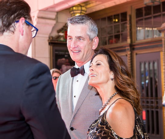 Frank Reich began taking classes at Reformed Theological Seminary in Charlotte, N.C. during an offseason. His wife, Linda, joined him in his third year of classes. They are pictured on the red carpet before the 2018 Snakepit Ball.