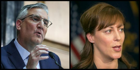 Gov. Eric Holcomb, left, who is ultimately responsible for the agency, and Indiana Family and Social Services Administration Secretary Jennifer Walthall, right, who administers the state's TANF money, declined to comment.