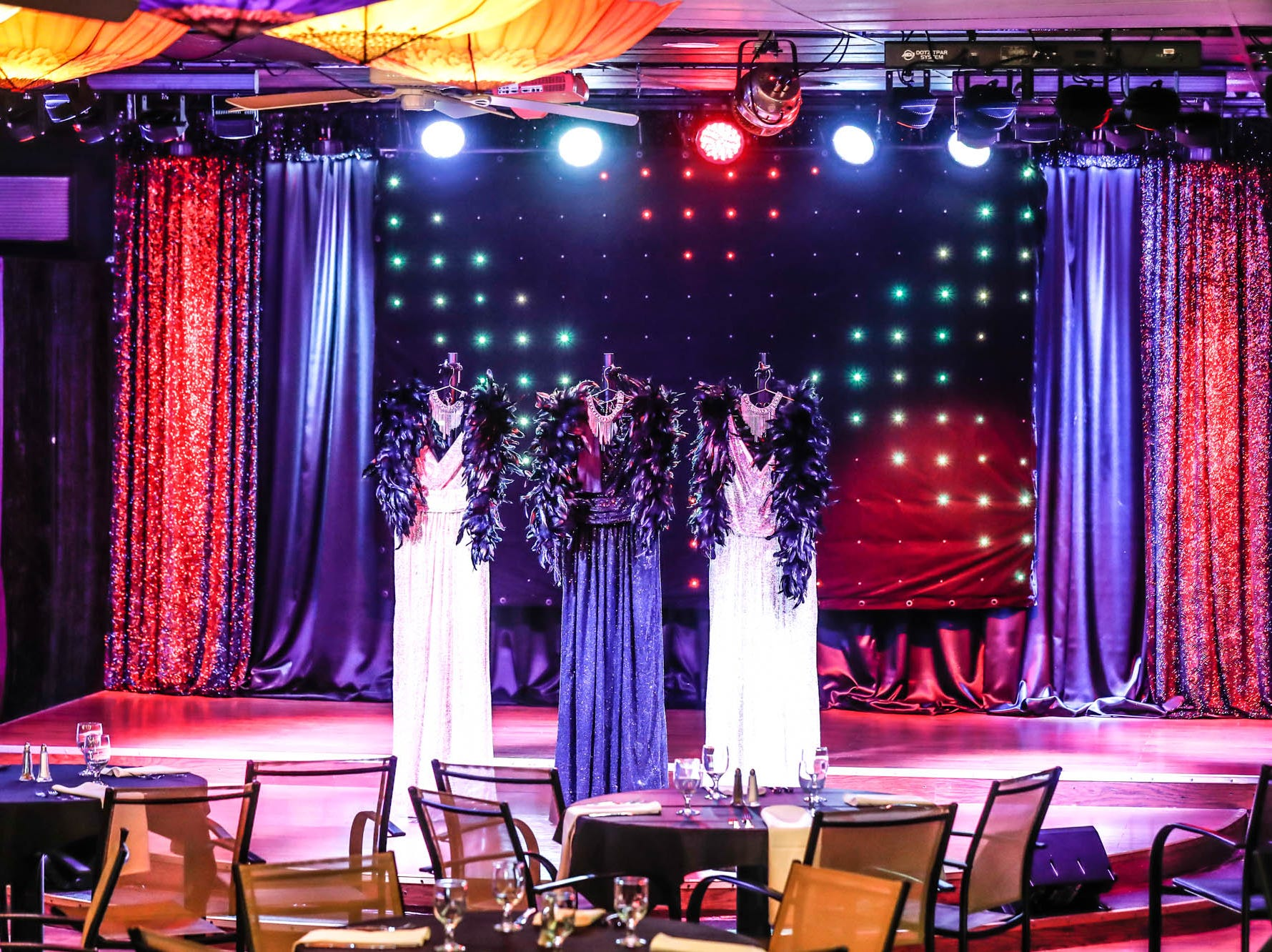 Mood and stage lighting set the scene at Stage To Screen's Catered Cabaret Theatre, 350 S. Madison Ave., Greenwood Ind. on Thursday, Jan. 17, 2019. The theatre was originally named Stage To Screen Studios, but has since evolved.