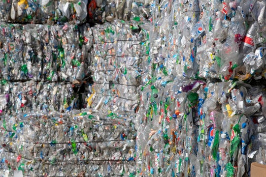 Bales of recyclables at Perpetual Recycling Solutions, Richmond, Wednesday, Nov. 7, 2018. The facility recycles PET plastic, the kind commonly found in clear water bottles.