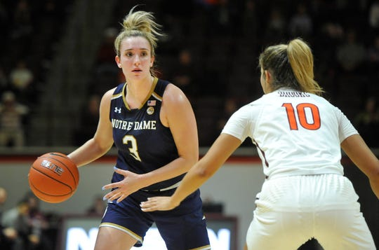 Jan 16, 2019; Blacksburg, VA, USA; Notre Dame Fighting Irish guard Marina Mabrey (3) looks to pass while defended by Virginia Tech Hokies guard Kendyl Brooks (10) in the first half at Cassell Coliseum.