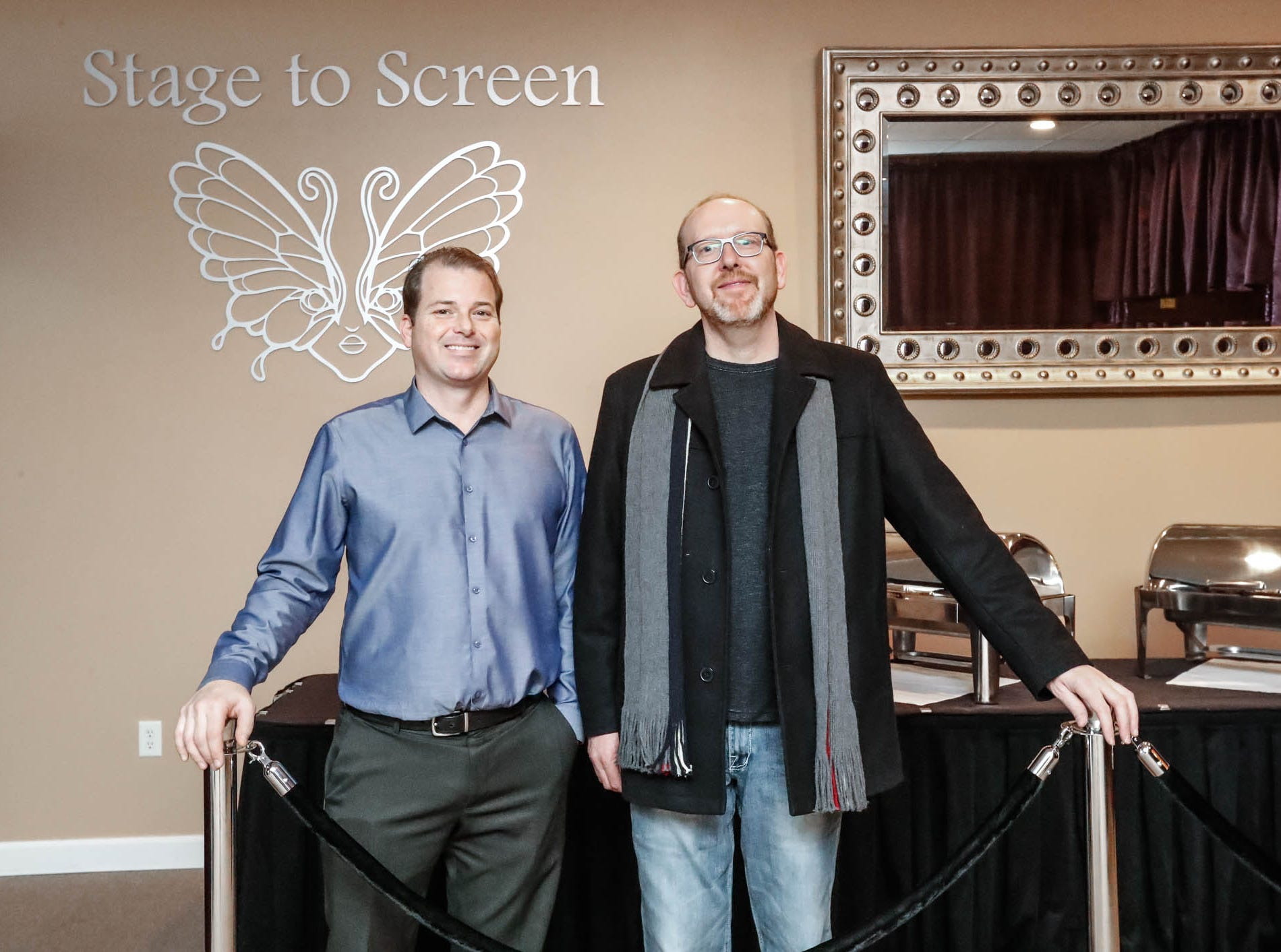 Grafton Peek Catering Owner Jason West, left, and Chef Charles Bryant stand in front of the buffet line at the Stage To Screen's Catered Cabaret Theatre, 350 S. Madison Ave., Greenwood Ind. on Thursday, Jan. 17, 2019. The theatre was initially named Stage To Screen Studios but has since evolved into the Cabaret Dinner Theatre.