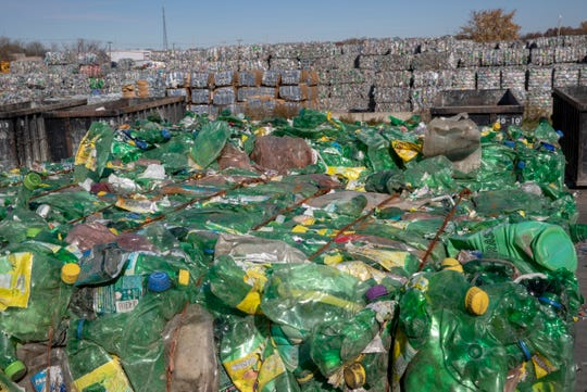 Various bales at Perpetual Recycling Solutions, Richmond, Wednesday, Nov. 7, 2018. The facility recycles PET plastic, the kind commonly found in clear water bottles.