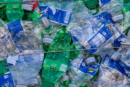 Detail from a bale at Perpetual Recycling Solutions, Richmond, Wednesday, Nov. 7, 2018. The facility recycles PET plastic, the kind commonly found in clear water bottles.