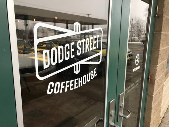 The front door of Dodge Street Coffeehouse in Iowa City is shown on Jan. 17, 2019.