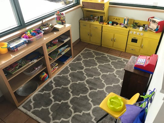 The kid's play space inside Dodge Street Coffeehouse in Iowa City is shown on Jan. 17, 2019.