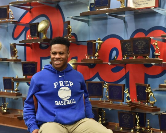Jackson Prep football and baseball player Jerrion Ealy sits inside a room above the school's gymnasium Wednesday, January 16. Ealy could play professional baseball or both sports in college.