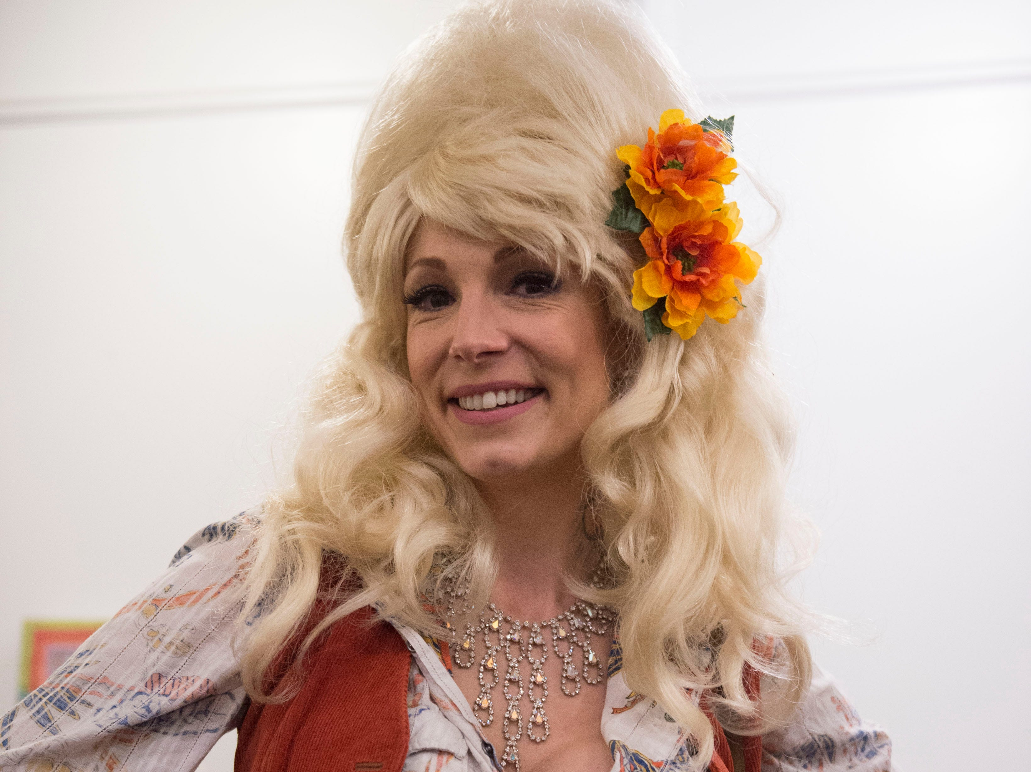 """Artist Meghan """"Bunny' Cunningham dressed as Dolly Parton served as a panel judge for the Dolly Parton look-a-like contest, the central event of the 4th annual Dolly Should festival in Bay St. Louis. Saturday, Jan. 12, 2019"""
