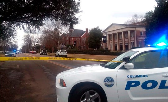 Police tape blocks College Street in front of Whitfield Hall at the Mississippi University for Women in Columbus, Miss., Friday afternoon, Jan. 4, 2019.