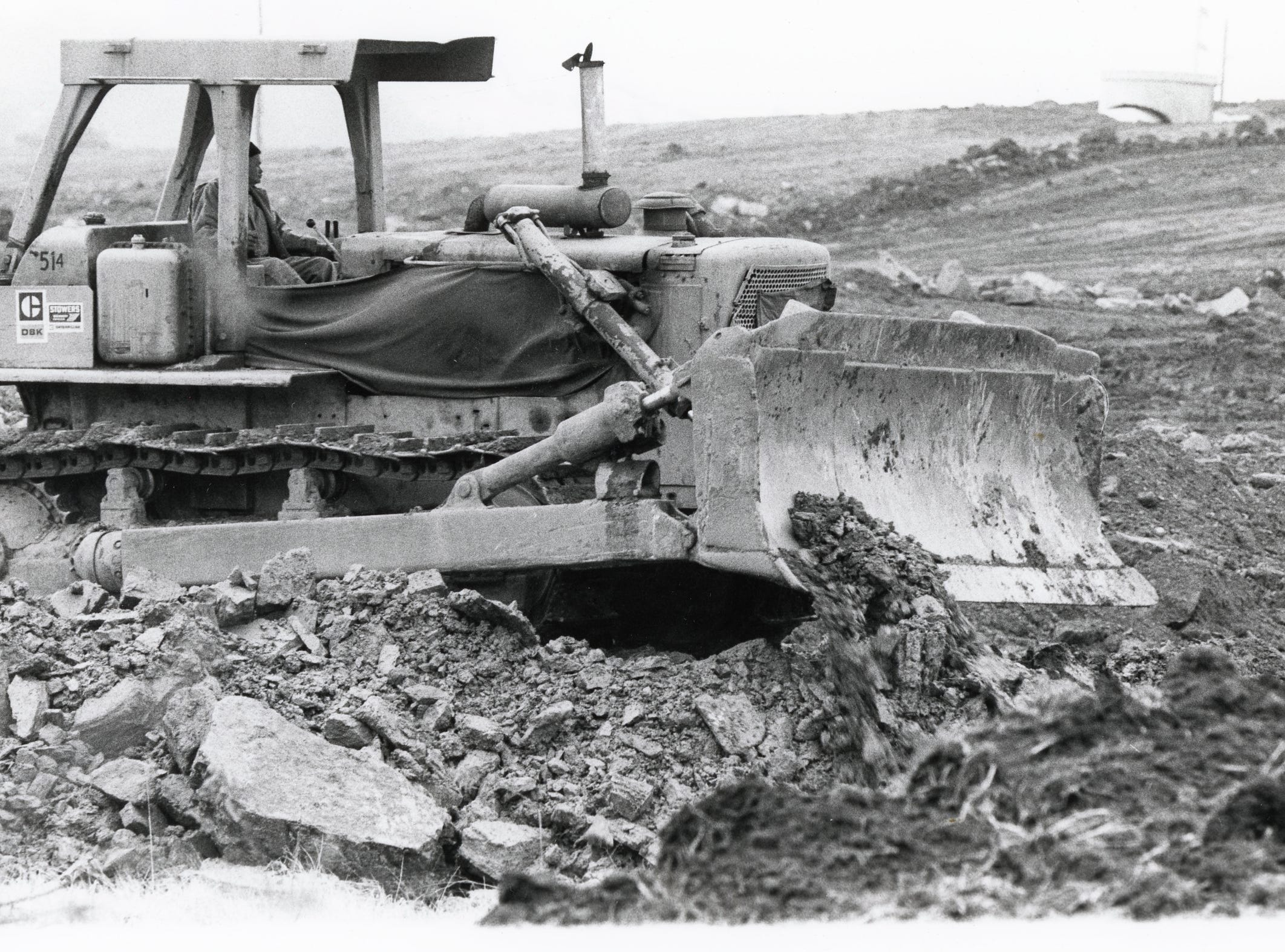 Breaking ground on the site of East Towne Mall, January, 1983.