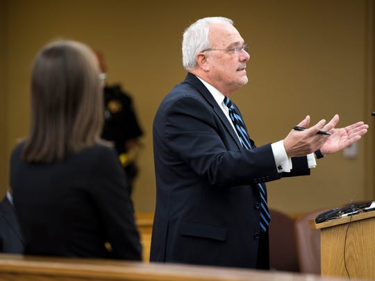 Knox County Public Defender Mark Stephens, right, argues a point as Knox County Assistant District Attorney Rachel Russell, left, listens during a preliminary hearing for Francisco Eduardo Franco-Cambrany in Knox County General Sessions Court on Jan. 17.