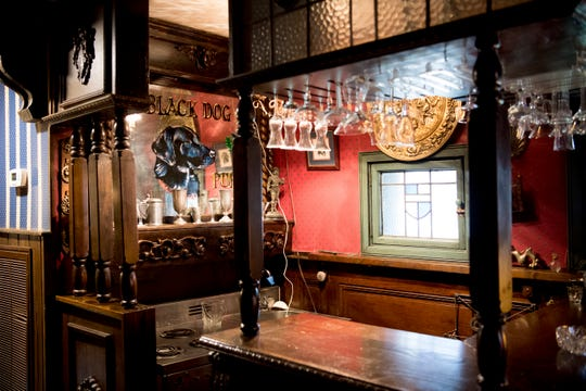 A bar in the sitting room inside Williamswood Castle in South Knoxville, Tennessee on Thursday, January 17, 2019. The home, modeled after a medieval castle, was built by Julia Tucker in 1991 and took 6 years to complete. Many of the items in the home were sourced from around the Knoxville area.