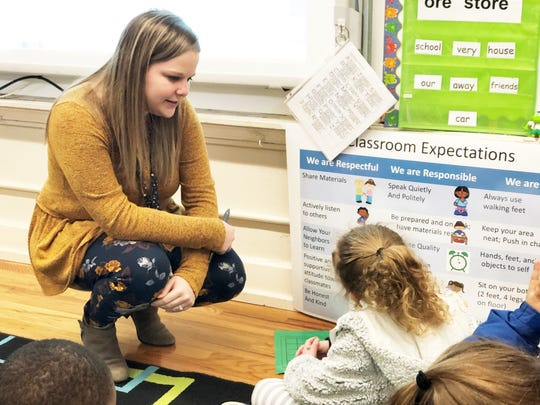 """Rachel Ellis, first-grade teacher at Fountain City Elementary, has her students work in pairs called """"Peanut Butter and Jelly."""""""