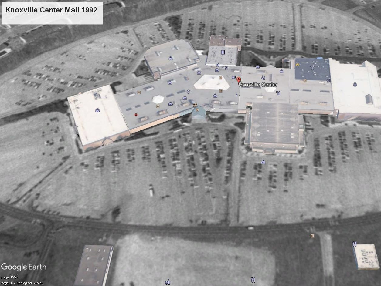 Knoxville Center Mall aerial view, 1992.