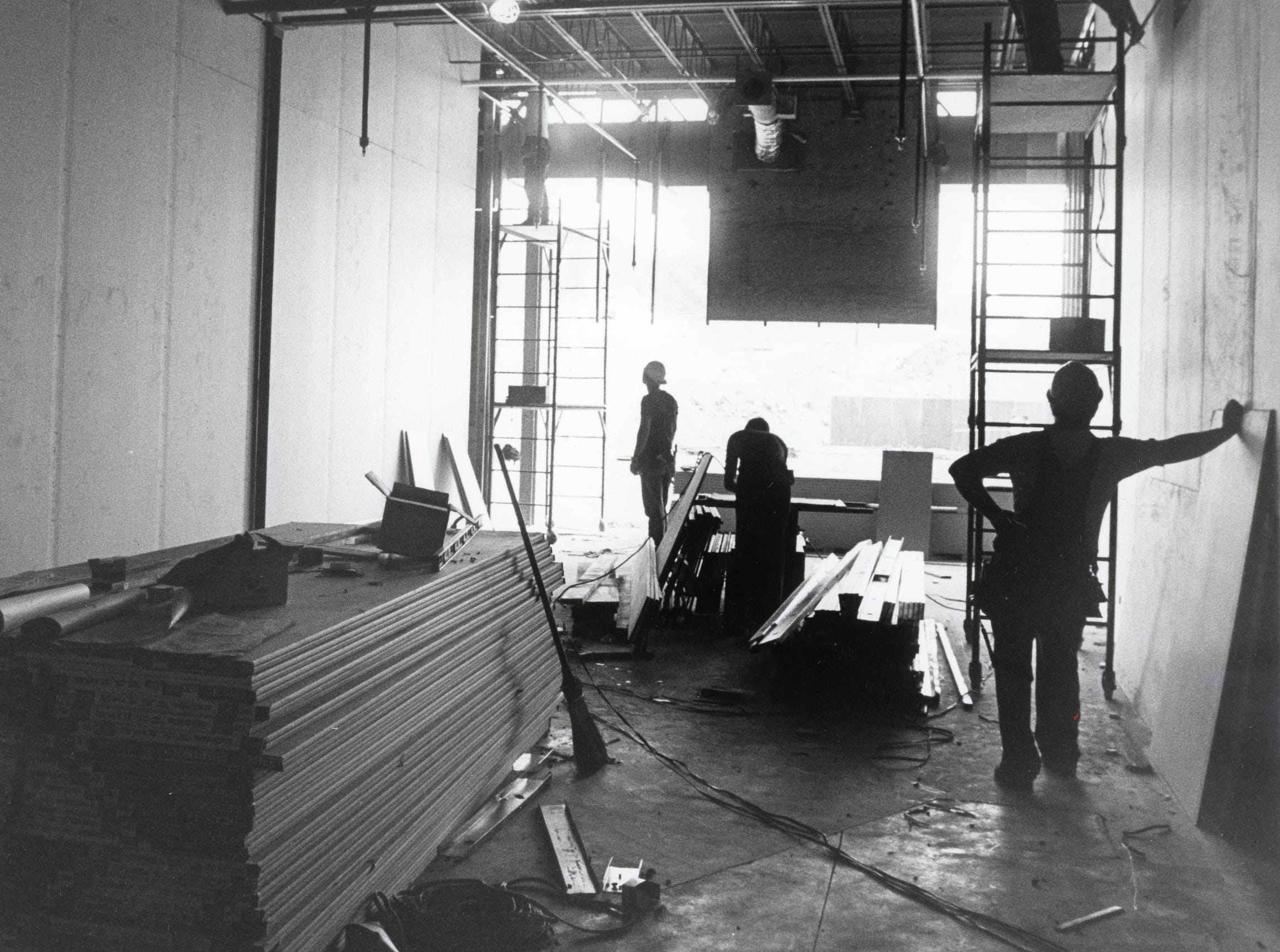 Construction work inside East Towne Mall, June, 1984.
