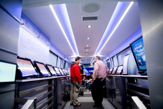 The inside of the C-SPAN Bus during a tour stop at Fulton High School in Knoxville on Thursday.
