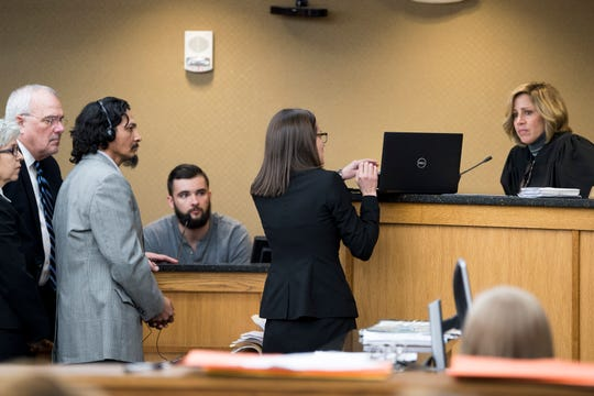 Knox County Assistant District Attorney Rachel Russell, center at laptop, shows a video during a preliminary hearing for Francisco Eduardo Franco-Cambrany in Knox County General Sessions Court on Thursday, January 17, 2019.