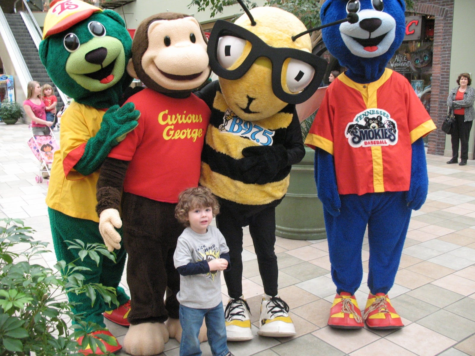 More than 75 children attended the Knoxville Center Mall's Book Blast event, which featured celebrity readers like Curious George and crafts. Several books were donated to East Tennessee Children's Hospital. Daniel Unthank, 2, visits Curious George, Bee 97.5 Bee and Slugger & Diamond.